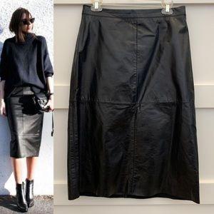 Leather lined midi skirt